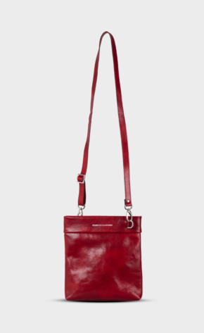 Red leather crossbody with polished zippers. Crossbody is lined.