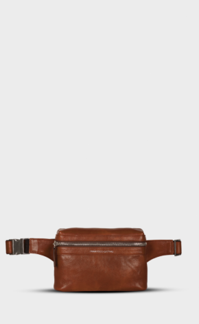Brown leather belt bag with polished zippers. Belt bag is lining. Extra back pocket.