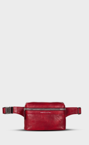 Red leather belt bag with polished zippers. Belt bag is lining. Extra back pocket.