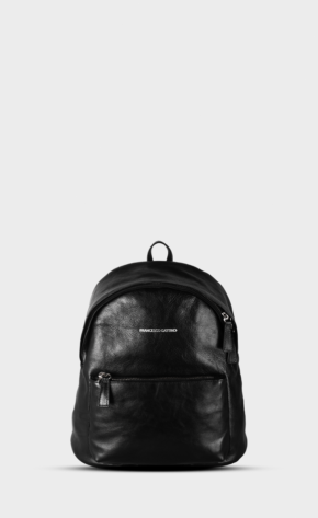 Black leather backpack mini with polished zippers. The backpack is lined. Two pockets and one inside.