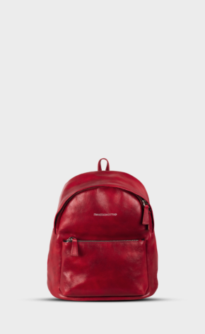 Red leather backpack mini with polished zippers. The backpack is lined. Two pockets and one inside.