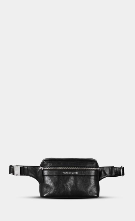 Black leather belt bag with polished zippers. Belt bag is lining. Extra back pocket.