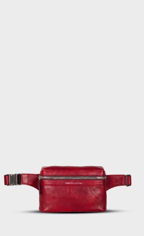 Červená kožená ledvinka s leštěným zipem. Ledvinka je vypodšívkovaná. Přední hlavní kapsa a zadní kapsa.
